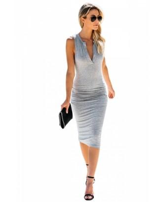 Sleeveless V Neck Pleated Plain Bodycon Midi Dress Light Gray