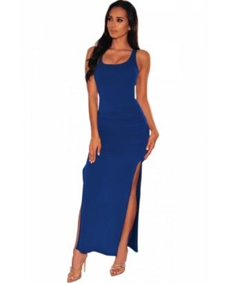 Sleeveless Bodycon Dress Plain Blue