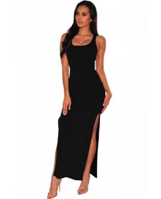 Scoop Neck Tank Dress High Split Black