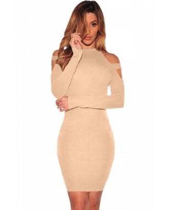 Sexy Cold Shoulder Long Sleeve Plain Bodycon Dress Khaki