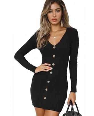 Sexy V Neck Long Sleeve Button Down Plain Bodycon Mini Dress Black