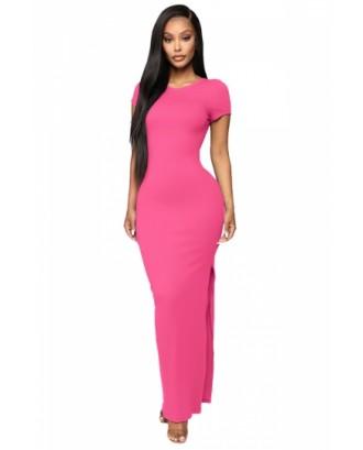 Backless Split Bodycon Dress Rose Red