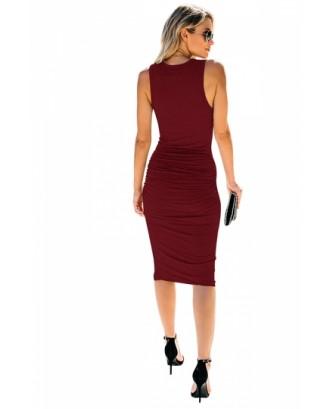 Sleeveless V Neck Pleated Plain Bodycon Midi Dress Ruby