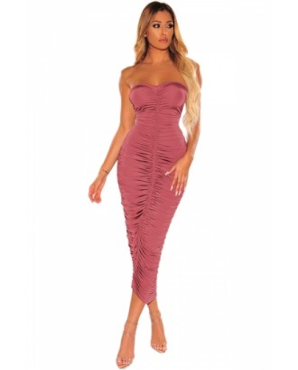 Ruched Strapless Bodycon Dress Rose Red