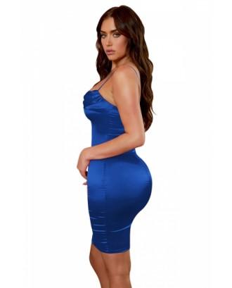 Sexy Spaghetti Straps Plain Pleated Bodycon Midi Dress Blue