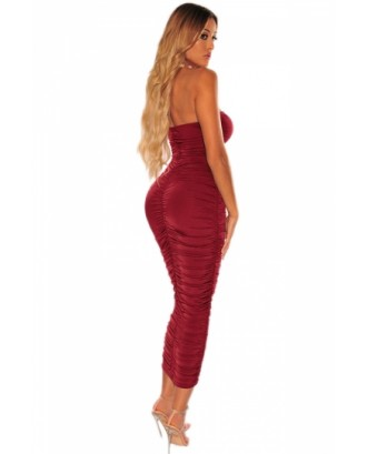 Solid Bandeau Ruched Bodycon Dress Ruby