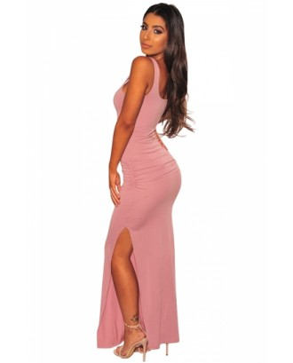 Sexy Solid Bodycon Tank Dress Pink