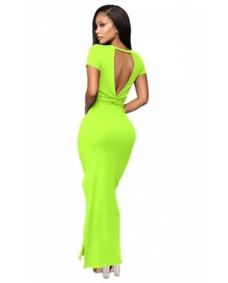 Short Sleeve Backless Bodycon Dress Green