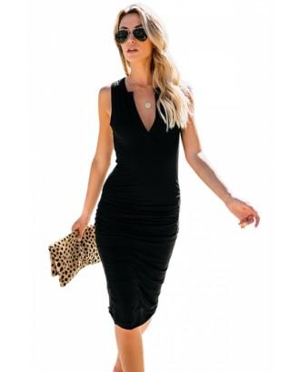 Sleeveless V Neck Pleated Plain Bodycon Midi Dress Black