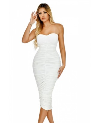 Ruched Bodycon Solid Tube Dress White