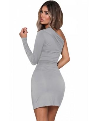 Sexy One Shoulder Long Sleeve Pleated Plain Bodycon Mini Dress Gray