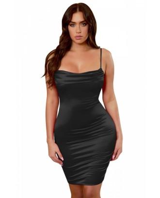 Sexy Spaghetti Straps Plain Pleated Bodycon Midi Dress Black