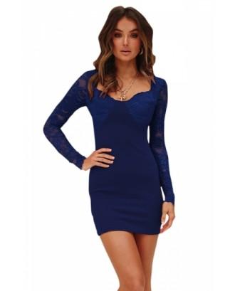 Long Sleeve Lace Patchwork Sheer Plain Bodycon Mini Dress Navy Blue