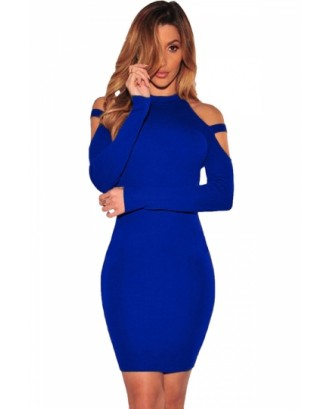 Sexy Cold Shoulder Long Sleeve Plain Bodycon Dress Blue