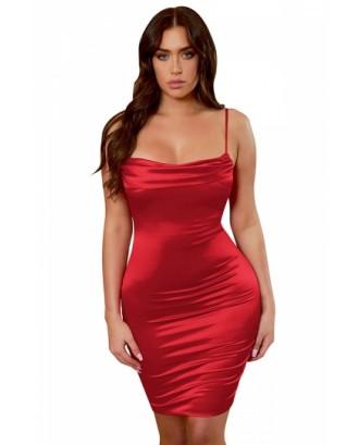Sexy Spaghetti Straps Plain Pleated Bodycon Midi Dress Red