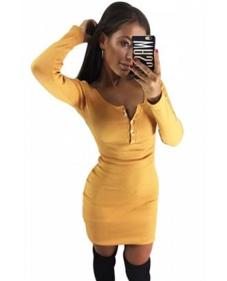 Sexy Scoop Neck Long Sleeve Button Plain Bodycon Mini Dress Yellow