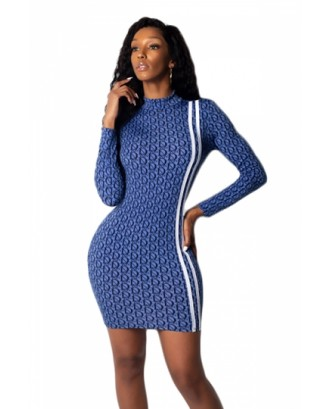 Elegant High Neck Long Sleeve Bodycon Party Nightclub Dress Blue