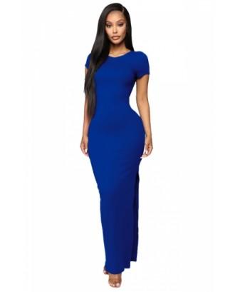 Backless Plain Maxi Dress Blue