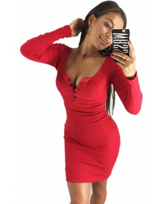 Sexy Scoop Neck Long Sleeve Button Plain Bodycon Mini Dress Red