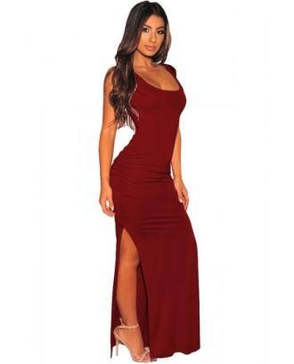 Ruched Bodycon Dress High Split Ruby