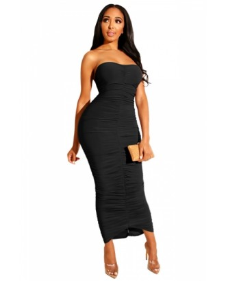 Sexy Ruched Solid Pencil Dress Black