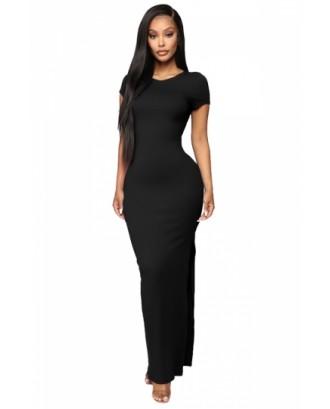 Short Sleeve Split Maxi Dress Black