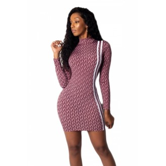 Elegant High Neck Long Sleeve Bodycon Party Nightclub Dress Burgundy