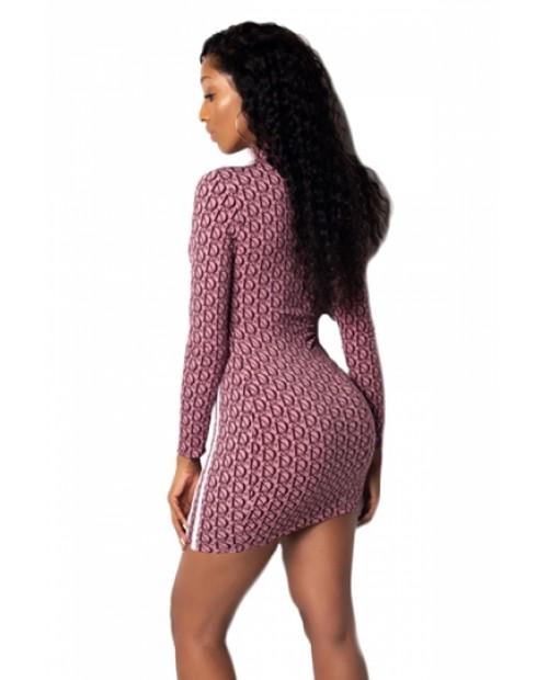 Elegant High Neck Long Sleeve Bodycon Party Nightclub Dress Burgundy