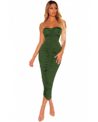 Solid Ruched Bodycon Tube Dress Olive