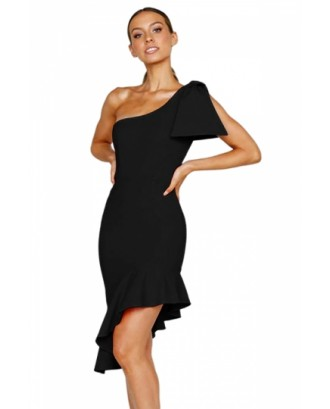 Asymmetric One Shoulder Bodycon Ruffle Plain Midi Dress Black
