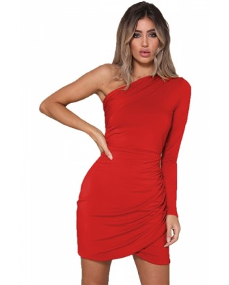 Sexy One Shoulder Long Sleeve Pleated Plain Bodycon Mini Dress Red
