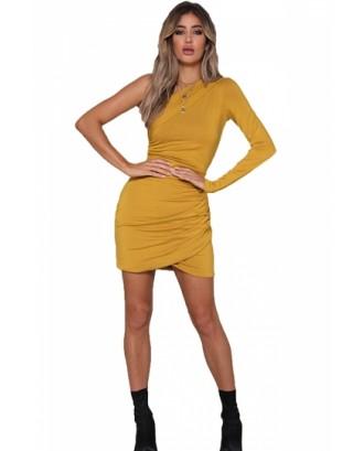 Sexy One Shoulder Long Sleeve Pleated Plain Bodycon Mini Dress Yellow