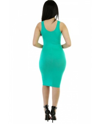 Women Scoop Neck Midi Casual Bodycon Tank Dress Green
