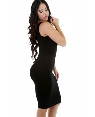 Women Scoop Neck Midi Casual Bodycon Tank Dress Black