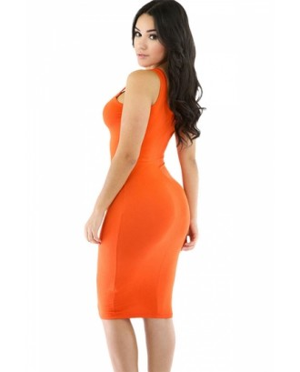 Women Scoop Neck Midi Casual Bodycon Tank Dress Orange