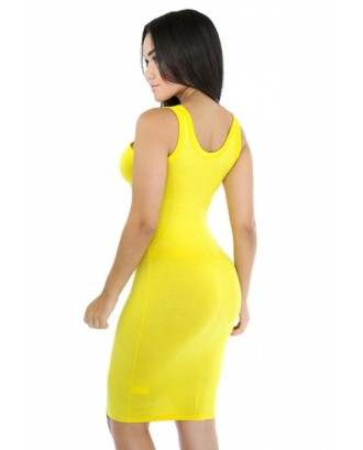 Women Scoop Neck Midi Casual Bodycon Tank Dress Yellow