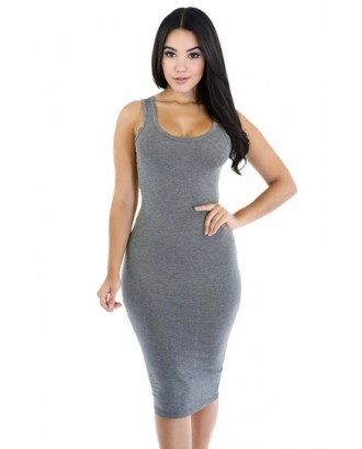 Women Scoop Neck Midi Casual Bodycon Tank Dress Gray
