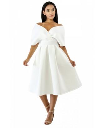 V Neck Off Shoulder Short Sleeve Zipper Plain Midi Skater Dress White