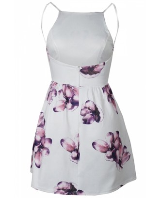 Sleeveless Backless Flora Print Mini Skater Straps Dress Light Purple