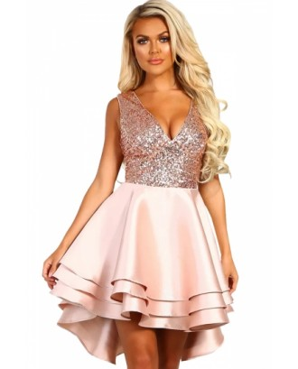 V Neck Sequined High Low Multi Layer Evening Dress Pink