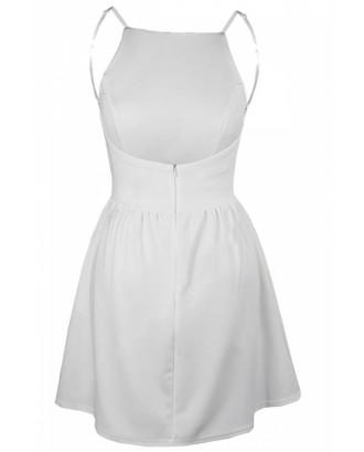 Sleeveless Backless With Pocket Plain Mini Skater Straps Dress White