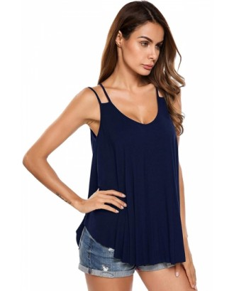Casual Scoop Neck Plain Cut Out Pleated Loose Tank Top Navy Blue