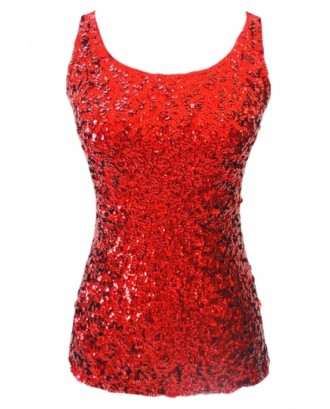 Cheap Red Slimming Ladies Crew Neck Sleeveless Sequined Tank Top