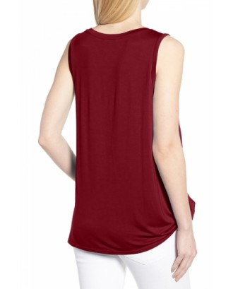 Crew Neck Knot Front Plain Casual Tank Top Ruby