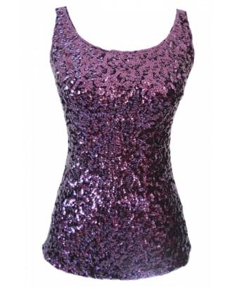 Cheap Purple Slimming Ladies Crew Neck Sleeveless Sequined Tank Top