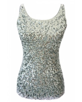 Cheap Silvery Slimming Ladies Crew Neck Sleeveless Sequined Tank Top