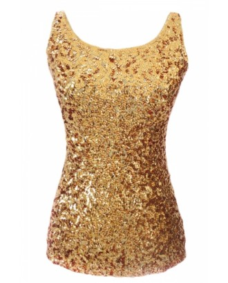 Cheap Tank Top Gold Slimming Ladies Crew Neck Sleeveless Sequined