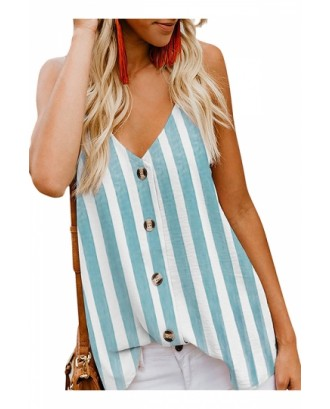 Casual V Neck Button Front Striped Tank Top Blue