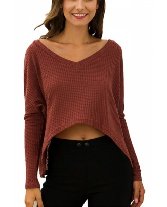 Long Sleeve High Low V Neck Crop Top Coral