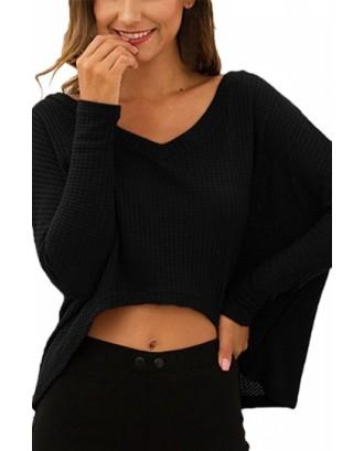 Dolman Sleeve Plain V Neck Crop Top Black